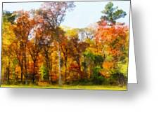 Row Of Autumn Trees Greeting Card