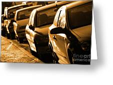 Row Of Cars Greeting Card by Carlos Caetano