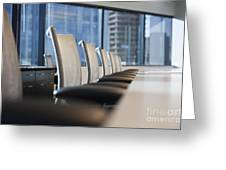 Row Of Chairs And A Table In A Conference Room Greeting Card