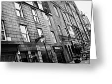 Row Of Old Granite Houses And Shops On The Green Aberdeen Scotland Uk Greeting Card