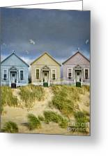 Row Of Pastel Colored Beach Cottages Greeting Card