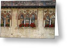 Row Of Windows In Treviso Italy Greeting Card