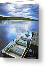 Rowboat Docked On Lake Greeting Card