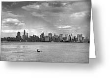 Rowing To Manhattan Greeting Card