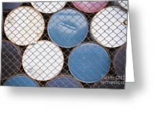 Rows Of Stacked Barrels Behind A Fence Greeting Card