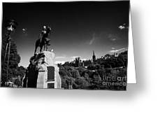 Royal Scots Greys Boer War Monument In Princes Street Gardens Edinburgh Scotland Uk United Kingdom Greeting Card