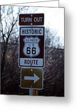 Rt 66 Il Turn Out Signage Greeting Card