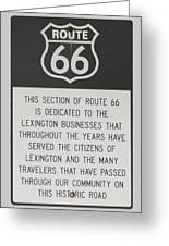Rt 66 Lexington County Signage Greeting Card