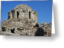 Ruins Of Byzantine Basilica Alanya Castle Turkey Greeting Card