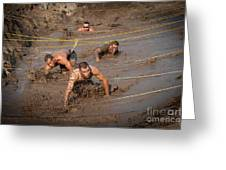 Runners Navigate An Obstacle Course Greeting Card