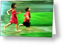 Running In The Rain Greeting Card