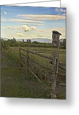 Rural Birdhouse On Fence Greeting Card