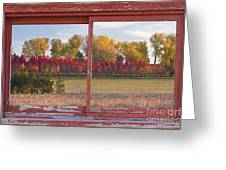 Rural Country Autumn Scenic Window View Greeting Card