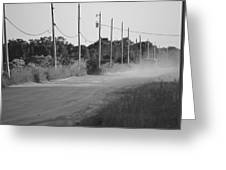 Rural Dirt Road In Black And White Greeting Card