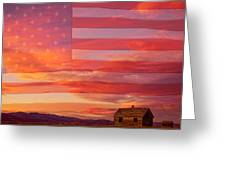 Rural Patriotic Little House On The Prairie Greeting Card by James BO  Insogna