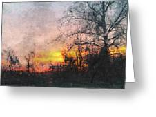 Rural Sunset  Art Greeting Card