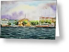 Russia Saint Petersburg Neva River Greeting Card