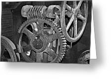 Rust Gears And Wheels Black And White Greeting Card