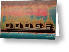 Rusted Antique Dodge Car Brand Ornament Greeting Card