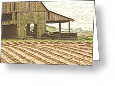 Rustic Barn And Field Rows Greeting Card