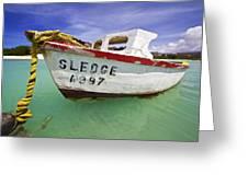 Rustic Fishing Boat Of Aruba II Greeting Card