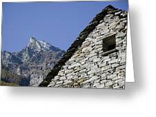 Rustic House And Mountain Greeting Card