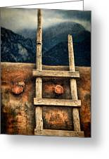Rustic Ladder On Adobe House Greeting Card