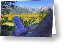 Rustic Moss Covered Pioneer Era Fence In Olympic Valley California Greeting Card