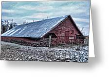 Rustic Red Winter Barn Greeting Card