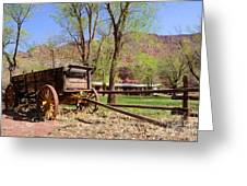 Rustic Wagon At Historic Lonely Dell Ranch - Arizona Greeting Card by Gary Whitton