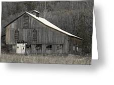 Rustic Weathered Mountainside Cupola Barn Greeting Card