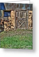 Rustic Wooden Door In Stone Barn Greeting Card