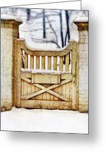Rustic Wooden Gate In Snow Greeting Card