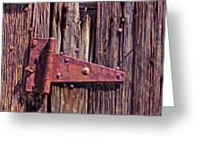 Rusty Barn Door Hinge  Greeting Card by Garry Gay