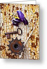 Rusty Key And Gear Greeting Card