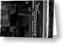 Rusty Lock - Black And White Greeting Card