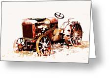 Rusty Tractor In The Snow Greeting Card by Suni Roveto
