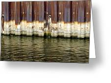 Rusty Wall By The River Greeting Card