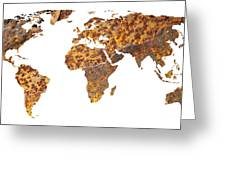 Rusty World Map Greeting Card
