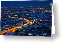 S Curve At Bangkok City Night Scene Greeting Card by Arthit Somsakul