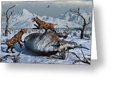 Sabre-toothed Tigers Battle Greeting Card