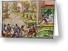 Sack Of Cartagena, C1544 Greeting Card