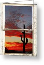 Saguaro Sunset Picture Window View Greeting Card