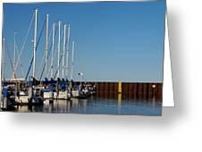 Sailboat Docking By Break Water Wall Greeting Card