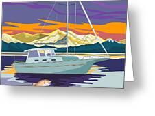 Sailboat Retro Greeting Card by Aloysius Patrimonio