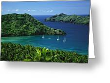 Sailboats Anchored In A Cove Of Blue Greeting Card by Tim Laman