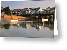 Sailboats And Harbor Waterfront Reflections Greeting Card