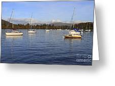 Sailboats At Anchor In Bowness On Windermere Greeting Card