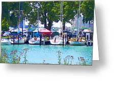 Sailboats In Dock Greeting Card