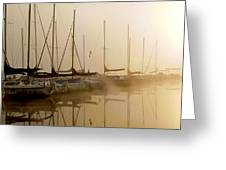 Sailboats In Golden Fog Greeting Card